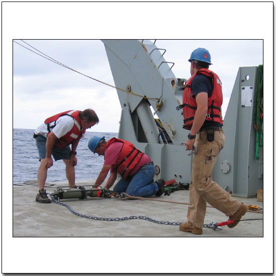 Deploying an Aanderaa RCM-11 current meter