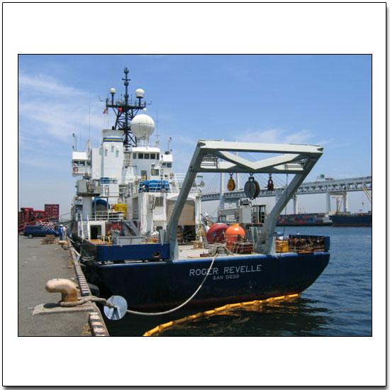R/V Revelle at the dock in Yokohama, Japan