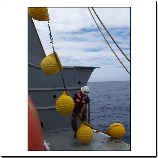 "Deploying ""hard hat"" floats for a profiler mooring"
