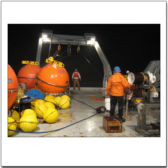 Night-time mooring work