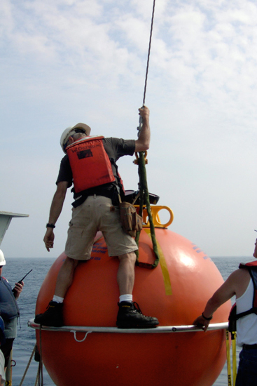 Preparing a surface float for deployment